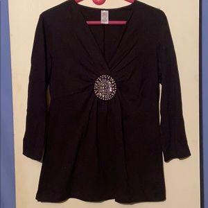 Black Embellished Tunic Blouse